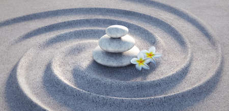 Frangipani flower with a stack of stones in the sand - 3D illustration