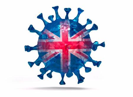 Virus Mutation UK - medical 3D illustration with white background
