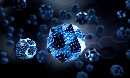 Black digital molecules floating on a dark background - 3D illustration