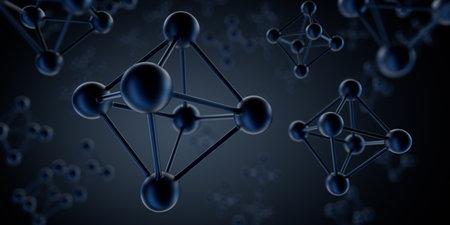 Octahedron black molecule structure visualization - 3D illustration