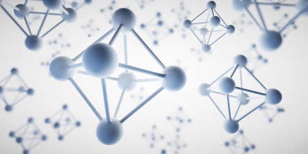 Octahedron molecule structure visualization - 3D illustration
