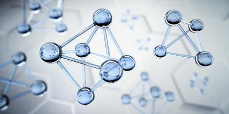 Octahedron glass molecule structure visualization - 3D illustration Banco de Imagens