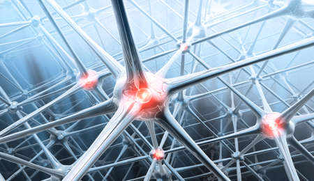 Artificial neurons network - 3D illustration