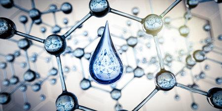 Molecule structure with water drop vizualisation - 3D illustration Banco de Imagens