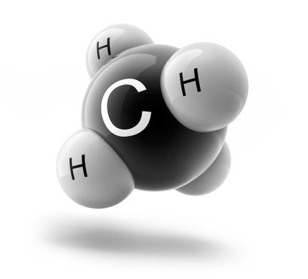 3d illustration of CH4 methane molecule model Banco de Imagens