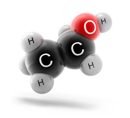 3d illustration of ethanol C2H6O molecule model