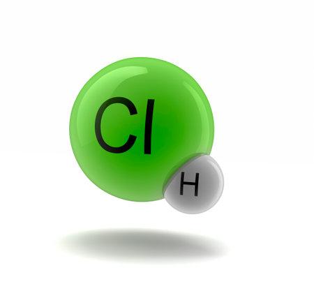 3d illustration of HCl  hydrogen chloride molecule model
