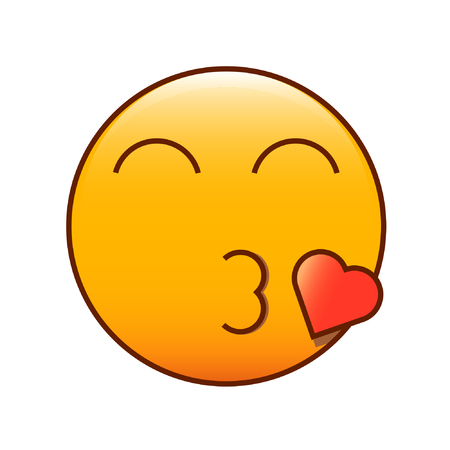 Kissing emoticon. Cute romantic emoji smiley