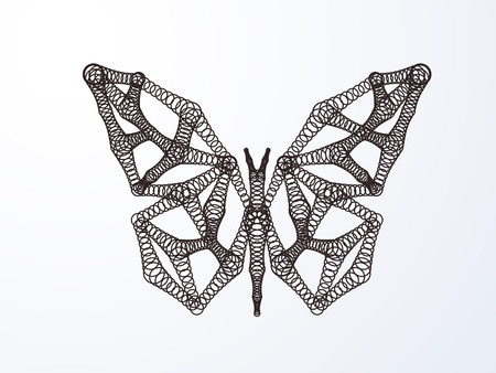 Abstract butterfly made of repeated geometric shapes. Vector art