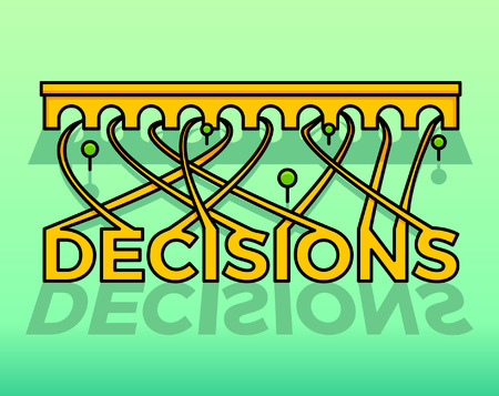 Making decisions concept. Vector illustration of the word Decisions that lead into roads that lead into different directions Illustration