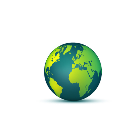 Earth globe. 3D effect planet Earth icon with smooth gradients. Vector illustration. Banco de Imagens - 82310203