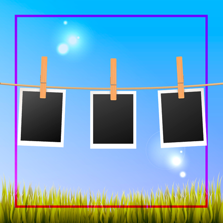 Photo frames hanging outside with wooden pegs. Vector design to share memories with your own photos