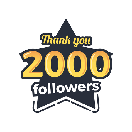 Two thousand followers goal badge. Isolated vector thank you design