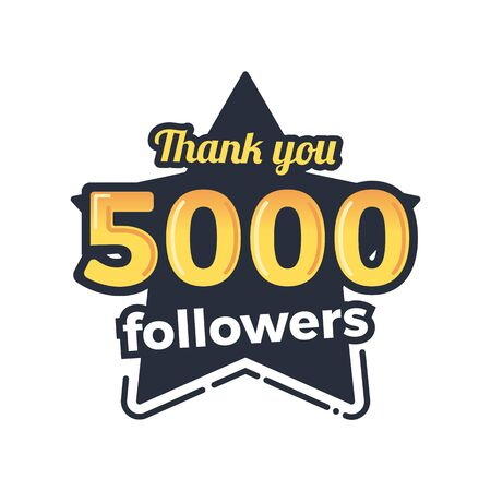 Five thousand followers goal badge. Isolated vector thank you design