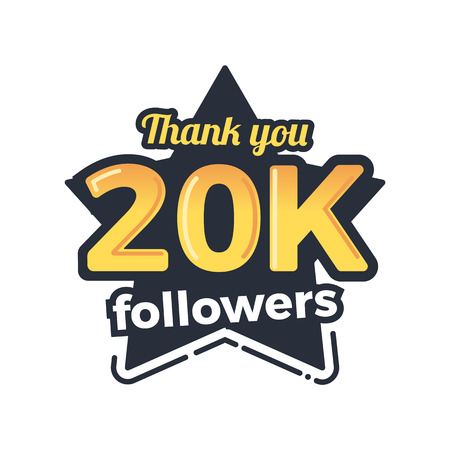 subscriber: Twenty thousand followers goal badge. Isolated vector thank you design