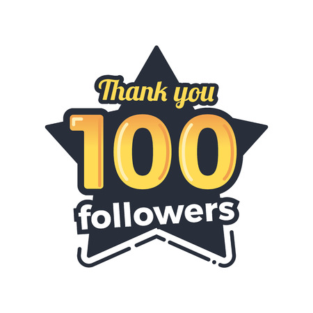 subscriber: One hundred followers goal badge. Isolated vector thank you design