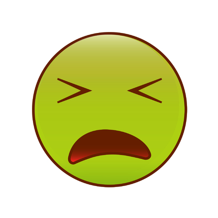 Sick disgusted smiley face on green paint wall vector illustration sick emoticon vector emoji smiley vector thecheapjerseys Image collections