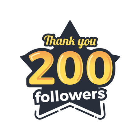 subscriber: Two hundred followers goal badge. Isolated vector thank you design Illustration