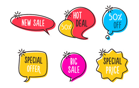 Sale labels, tags, speech bubbles, banners, logos, icons. Hand drawn doodle vector design