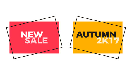 Autumn New Sale geometric shape label set. Vector retro design in red and yellow