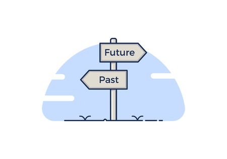 Signpost with 2 choices between Past and future. Isolated Vector illustration