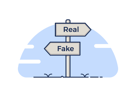 Signpost pointing at two opposite directions, the real and the fake concept. Vector illustration