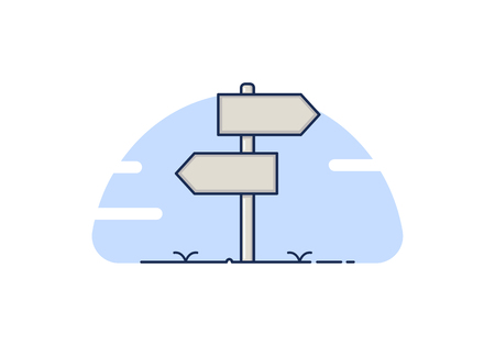 Road sign with two empty boards for text. Vector design concept can be used for opposite ideas