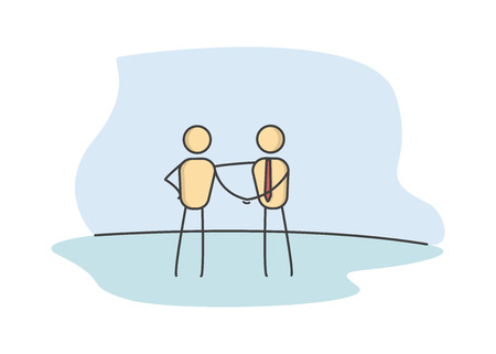 Stick figures shaking hands, Business handshake representing a deal or success. Vector illustration