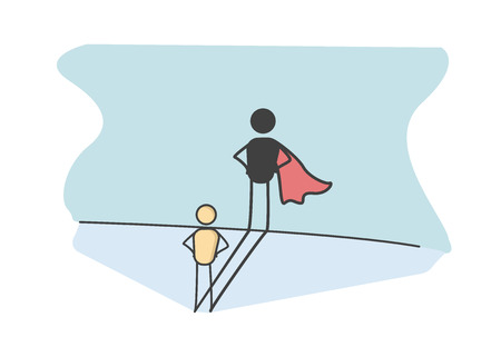 Character with a super hero shadow representing success in life, preserverance, courage, promotion at work. Vector illustration