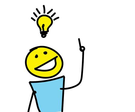Stick figure having a creative idea with a light bulb over his head. Vector illustration