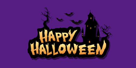 Happy Halloween text design background. Vector design lettering illustration in eps10