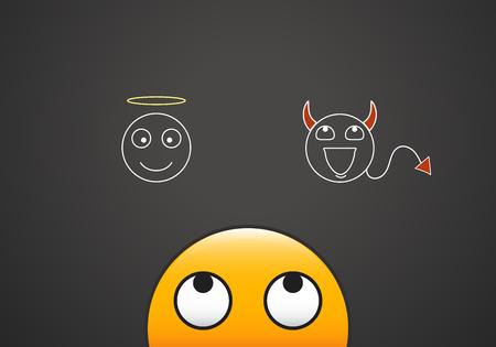 이모티콘은 천사와 악마가 나타내는 선과 악의 양심을 바라본 것입니다.