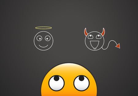 Emoticon looking at his good and bad conscience represented by an angel and demon.