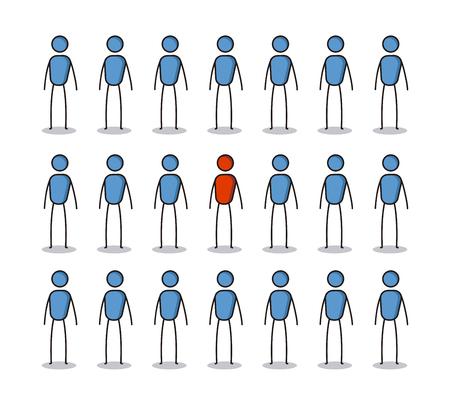 Onderscheiden van het crowd-concept. Stock Illustratie