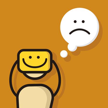 Personaje de dibujos animados sintiéndose triste. Ilustración de vector