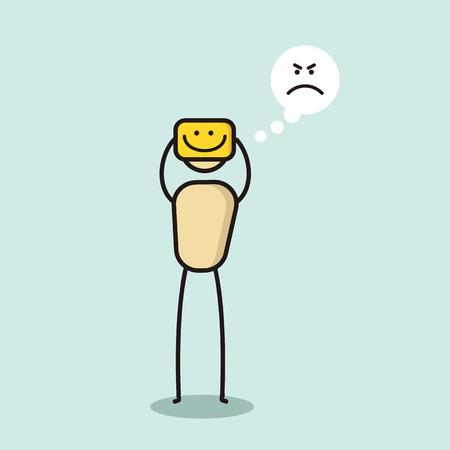 Angry cartoon character hiding his true feelings. Illustration