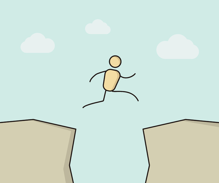 절벽 사이 점프하는 만화 스틱 그림. 일러스트