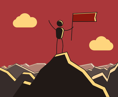 Character reaching the top of the mountain and celebrating. Vector illustration for different concepts.