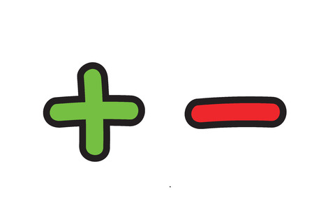 Plus and minus vector icon set. Add and subtract doodle illustration
