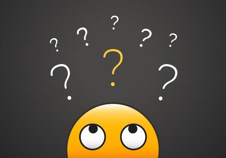 Cute emoji mirando hacia arriba para la pila de signos de interrogación. Ilustración vectorial para aprender, curiosidad, duda, cuestionar conceptos