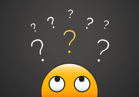 Nettes emoji, das oben zum Stapel Fragezeichen schaut. Vektorillustration für das Lernen, Neugier, Zweifel, Konzepte fragend