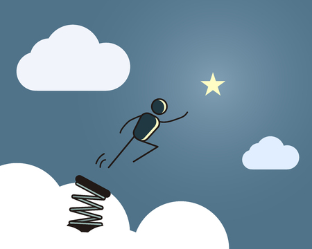 Stick figure jumping in the sky ready to reach the star. Vector illustration for different concepts Vektoros illusztráció
