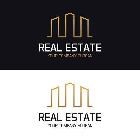 Real Estate Logo avec skyline de bâtiments gratte-ciel, illustration de la conception minimale.
