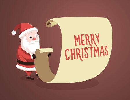 Lista di controllo di Babbo Natale con il messaggio di Buon Natale. Illustrazione vettoriale