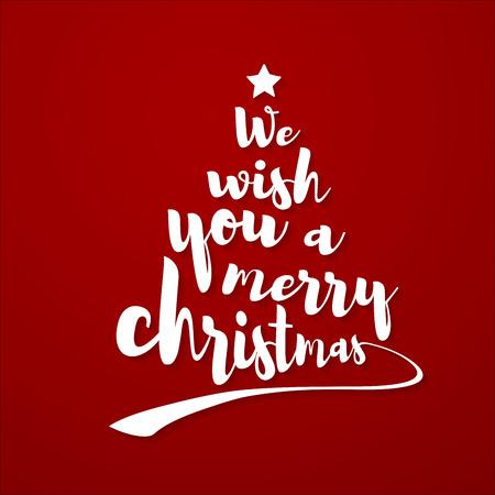 Vi auguriamo una felice citazione di Natale. Il testo calligrafico rende la forma di un albero di Natale con una stella in cima. Arte vettoriale Vettoriali