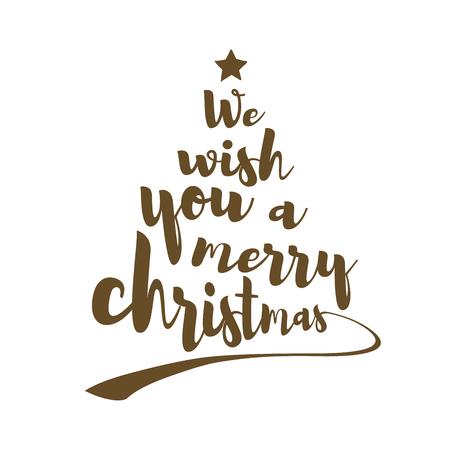 Vi auguriamo una felice citazione di Natale. Il testo calligrafico rende la forma di un albero di Natale con una stella in cima. Arte vettoriale