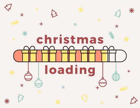Christmas loading bar with gift boxes and pattern background with xmas icons. Vector illustration