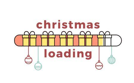 Barra di caricamento natalizia con scatole regalo. Illustrazione vettoriale Archivio Fotografico - 90431816