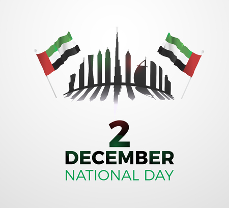 United Arab Emirates national day December the 2nd. Vector illustration of UAE event. Text, flags and skyline Illustration