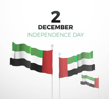 United Arab Emirates national day December the 2nd. Vector illustration of UAE event. Text and waving flags